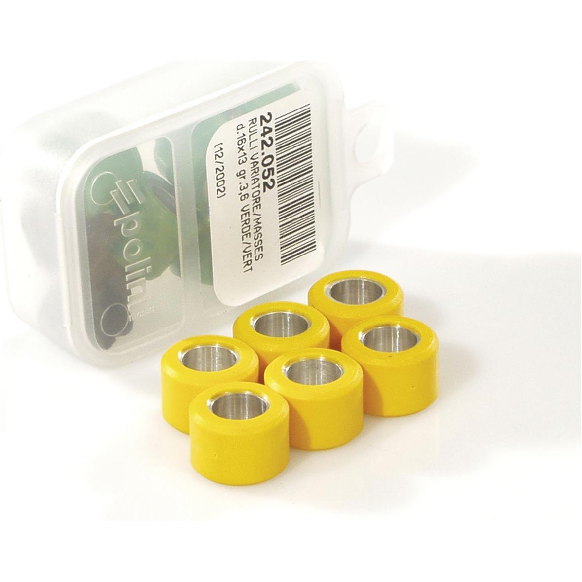 Obrázek výrobku pro 'Válečky variátoru POLINI 17x12 mm 6,7 gramTitle'