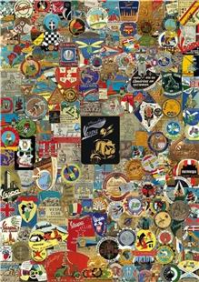 Obrázek výrobku pro 'Poster s motivem Vespa odznakyTitle'