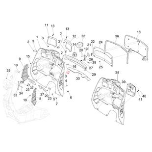 Obrázek výrobku pro 'Podložka přihrádka na zavazadla/boční opláštění 8,6x6,2x1 mm, PIAGGIOTitle'