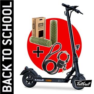 """Produktbild für 'E-Scooter """"BACK TO SCHOOL"""" Bundle TRITTBRETT Kalle mit VANS Griffen (olive)  und Masterlock Streetcuff'"""