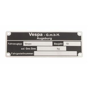 """Produktbild für 'Typenschild """"Vespa GmbH Augsburg""""'"""