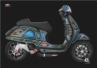 Product image for 'Poster SIP with Vespa GTS series Pordoi motif MODERN VESPATitle'