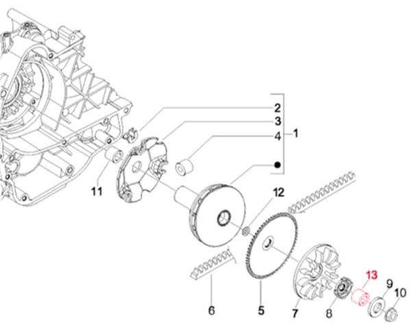 Mutter M12 x 1,25 für Variomatik Piaggio NRG Power DT 50 ab 2005