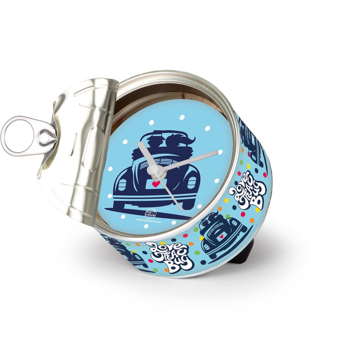 """Product Image for 'MyClock™ - clock in a tin VW Collection VW Beetle """"Love That Bug""""Title'"""