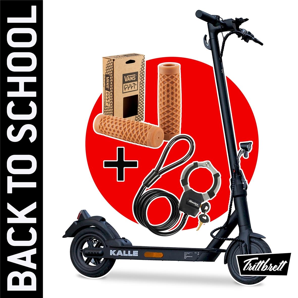 """Imagen del producto para 'E-Scooter """"BACK TO SCHOOL"""" Bundle TRITTBRETT Kalle con puños VANS (marrón claro) y Masterlock StreetcuffTitle'"""