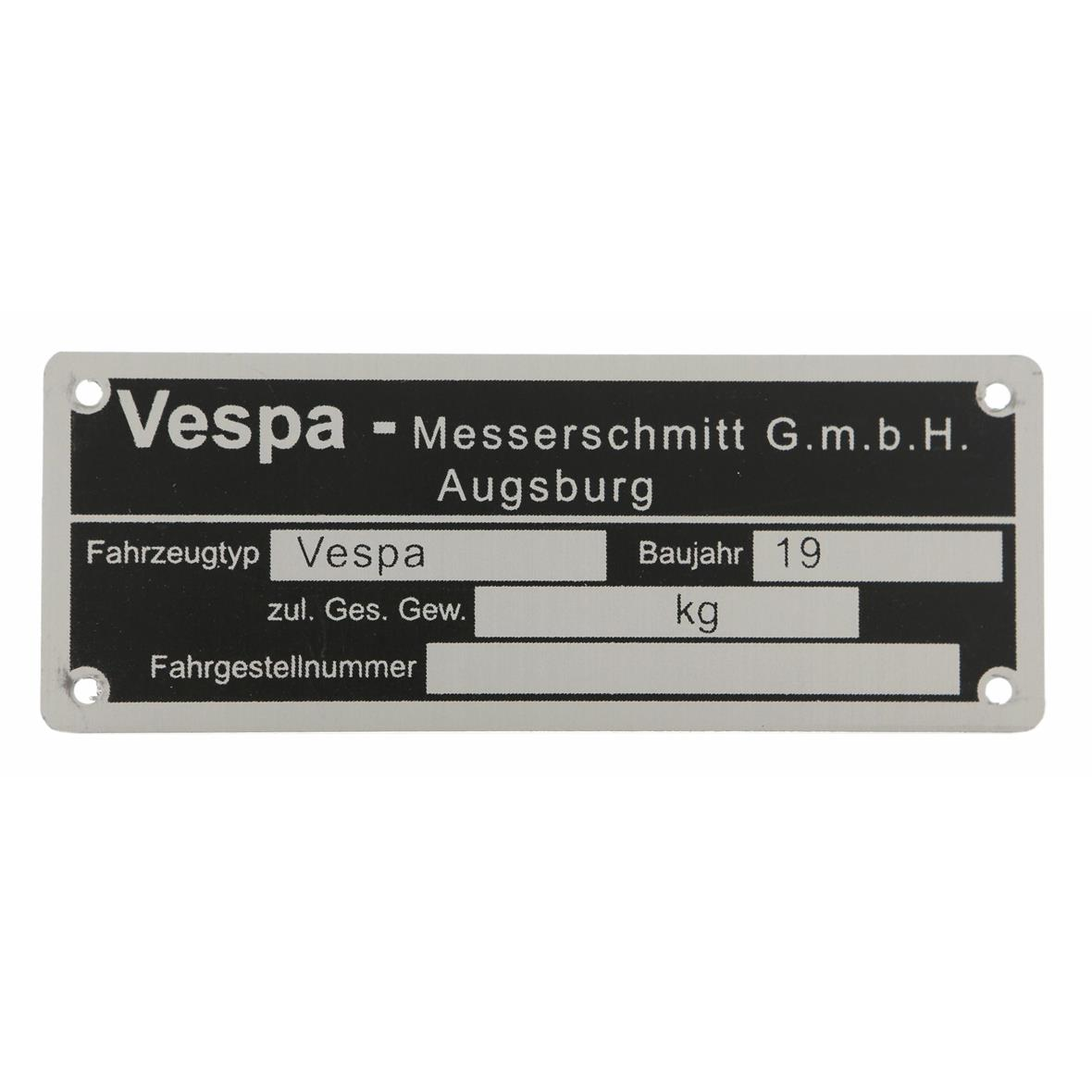 "Imagen del producto para 'Placa tipo ""Vespa-Messerschmittt GmbH Augsburg""Title'"