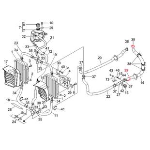 Imagen del producto para 'Abrazadera de apriete tubo de refrigeración Ø 34 mm, atrás derecha, PIAGGIOTitle'