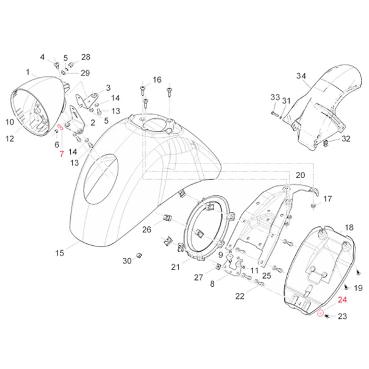 """Image du produit 'Rondelle monture de phare """"lampe inférieure"""", garde-boue, PIAGGIO'"""