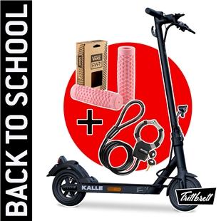 """Image du produit 'E-Scooter """"BACK TO SCHOOL"""" Bundle TRITTBRETT Kalle avec poignées VANS (rose) et Masterlock Streetcuff'"""