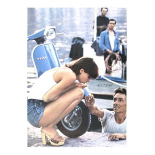 """Image du produit 'Affiche avec motif """"Vespa Sprint - fille avec cigarette""""'"""