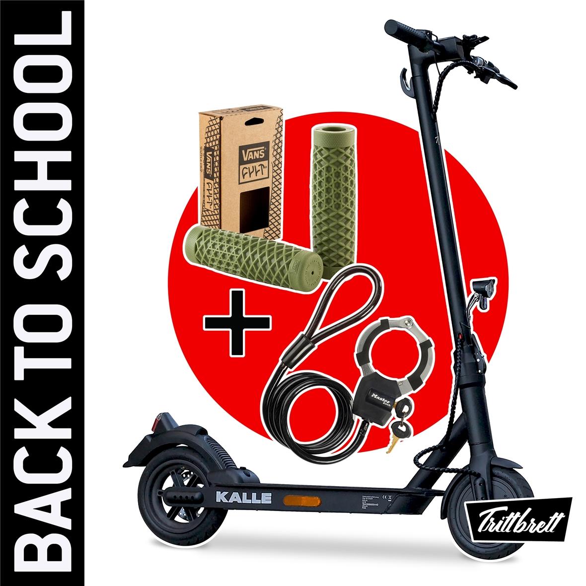 """Immagine del prodotto per 'E-Scooter """"BACK TO SCHOOL"""" Bundle TRITTBRETT Kalle con maniglie VANS (oliva) e Masterlock Streetcuff'"""