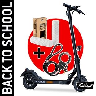 """Productafbeelding voor 'E-Scooter """"BACK TO SCHOOL"""" Bundle TRITTBRETT Kalle met VANS-handgrepen (wit) en Masterlock StreetcuffTitle'"""